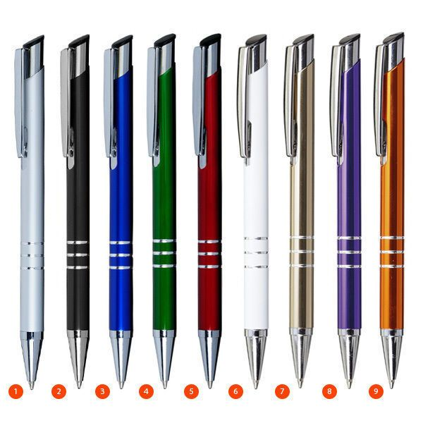 kugelschreiber linda aus aluminium in 15 farben. Black Bedroom Furniture Sets. Home Design Ideas